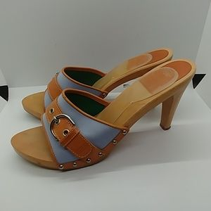 "Coach Wooden Sandals with 4"" Heels"